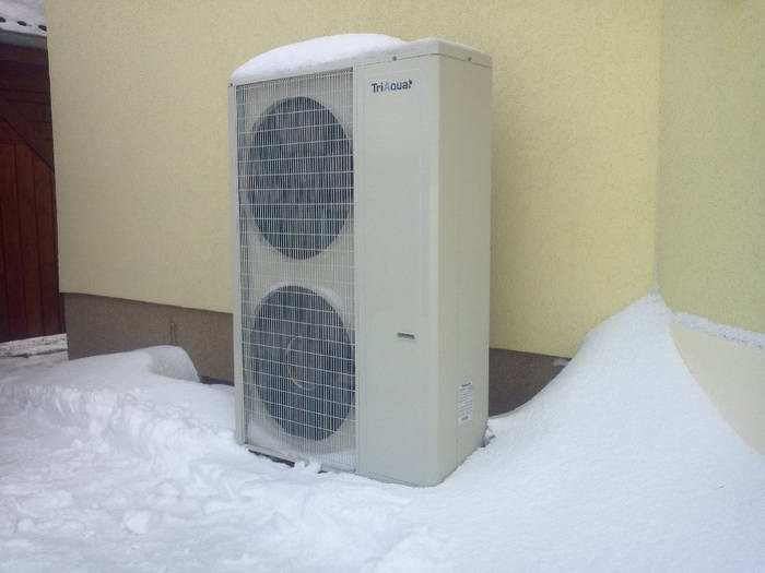 Palm heat pump work in low ambient temp of snowing day